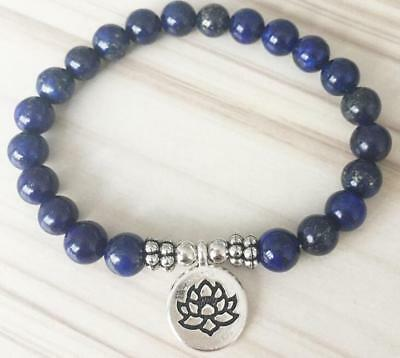 Natural lapis lazul 8 mm blue yoga Buddha charm anxiety relief healing bracelet