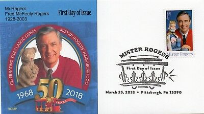 Mr.Rogers 2018 stamp,FDC,50th Anniversary With Bear by ROMP cachets