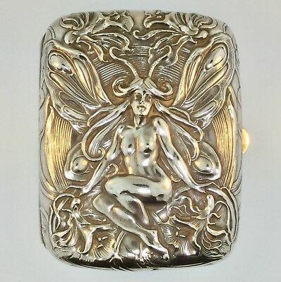 "ANTIQUE STERLING SILVER ART NOUVEAU Nude ""FAIRY"" CIGARETTE CASE by WILLIAM KERR"