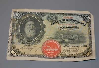 Antique 1909 Banco Nacional Ultramarino S. Thiago 2500 Note Bill