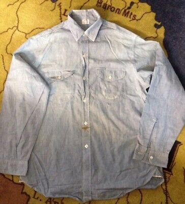Vintage Lee Sanforized Chambray Work Shirt 1950s Size 16 Long selvage gussets