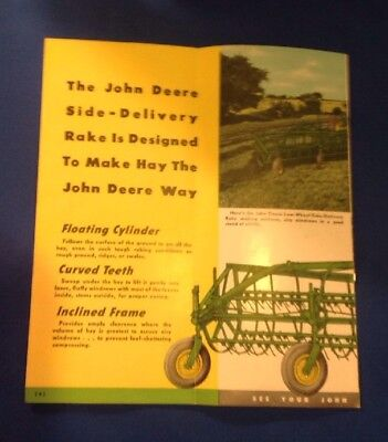 Vintage 1940's John Deere Side Delivery Rake Fold Out Dealer Brochure 6 Pages