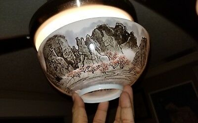 FINE Eggshell Chinese Famille Rose Bowl With calligraphy And Mark In Landscape
