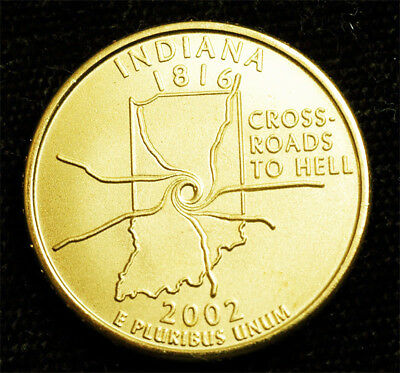 2002 Altered Indiana State CARRter Dollar by Daniel Carr Brass Alloy BU