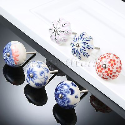 1Pc Porcelain China Blue White Furniture Cabinet Handle Ceramic Drawer Pull Knob