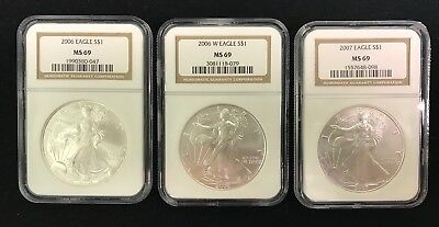 3 American Silver Eagles Graded NGC MS69. 1-2006, 1-2006-W, 1-2007.