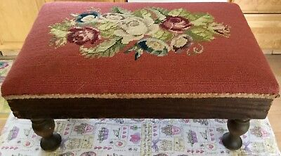 Antique Victorian Wooden Needlepoint Floral Footstool Foot-stole Footrest