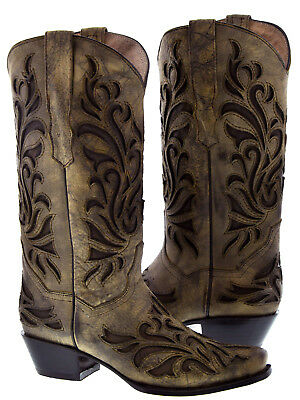1545a630db73 ROPER EAGLE WOMENS Black Faux Leather Distressed Amelia Cowboy Boots ...