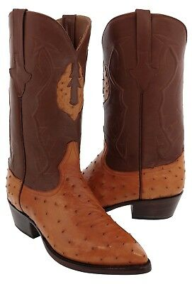 Mens Cognac Real Ostrich Quill Leather Cowboy Boots Western Rodeo J Toe