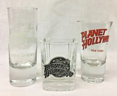PLANET HOLLYWOOD - SET OF 3 SHOT GLASSES Planet Hollywood, San Diego, New York