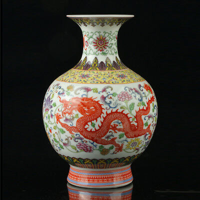 Chinese Porcelain Hand-Painted Dragon Phoenix Vase Mark As The Qianlong Period
