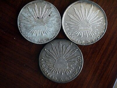 3X 8 Reales Oaxaca Mint Silver Bullion 1880 1886 1891 Mexico Coin Collection