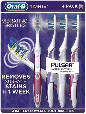 Oral-B 3D White Vibrating Bristles 4 Pack Pulsar Battery Powered Toothbrushes M
