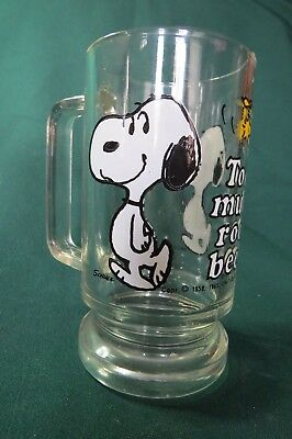 "VINTAGE '65 Peanuts SNOOPY WOODSTOCK ""Too much root beer"" GLASS DRINKING MUG CUP"