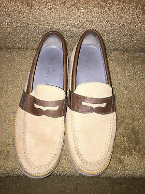 Mens Cole Haan Tan and Brown Light Blue Suede Penny Loafers Shoes Size 8 Medium