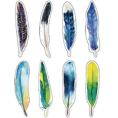 30 pcs/pack colorful paper feather bookmark stationerygift NJ