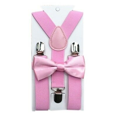 Pink Polyester Kids Design Suspenders and Bow Tie Set Matching Ties Outfits GL