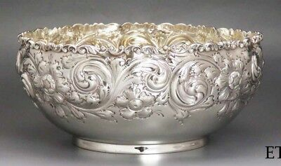 Beautifully Hand Chased Sterling Silver Black Starr Frost Bowl