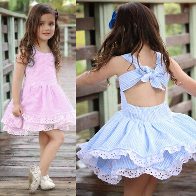 Toddler Infant Kids Baby Girls Summer Clothes Stripe Lace Party Princess Dresses