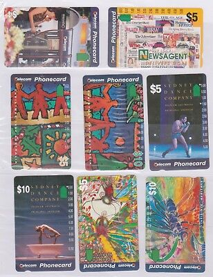 (K70-79) AU mix of 8 cards $5 & $10 used phone cards (CD)