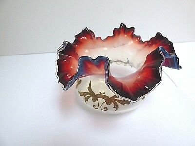 Victorian Glass Bowl Ox Blood Ruffled Edges Gold Hand Painted Bride Basket