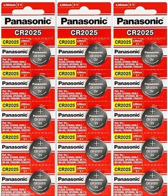 15 x Fresh PANASONIC CR 2025 CR2025 ECR2025 LITHIUM COIN CELL Battery Exp 2027