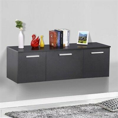 Wall Mount Floating Storage Cabinet 3 Door Organizer Desk Dining Room Furniture