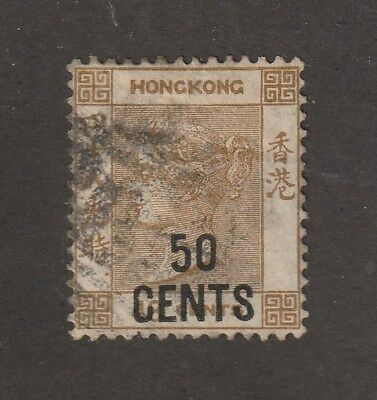 Hong Kong Stamp #53,  Used, overprint, QV, CV $45