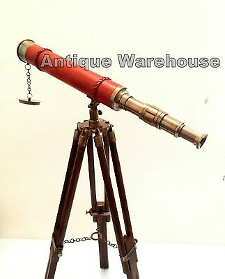 Handmade Antique Brass Spyglass Leather Wrapped Telescope With Wooden Tripod G