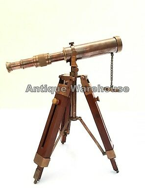 Design Ant Solid Brass Pirate Spyglass Telescope With Wooden Tripod Marine Scope