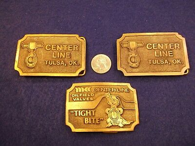 "Lot Of 3 Vtg Brass Belt Buckles - Center Line Oilfield Valves ""Tight Bite"" Tulsa"