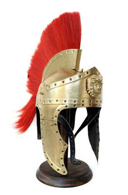 Medieval Brass Roman King Leonidas Spartan 300 Movie Helmet With Red Plume Gift