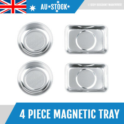 4 Pc Magnetic Tool Tray Set Parts Holder Garage Organizer Bowl Stainless Steel