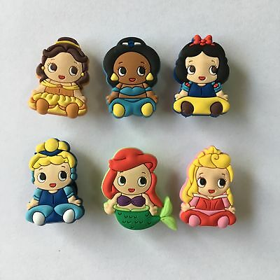 6pcs Lovely Princess PVC Cartoon Shoe Charm Shoe Buckle Accessories Kids Gift