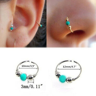 Fake Nose Ring Turquoise Septum Ring Hoop Cartilage Tragus Helix Thin Piercing