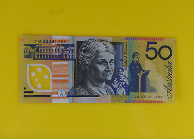 Last Prefix VG Australian $50 Fifty Dollar Polymer bank note
