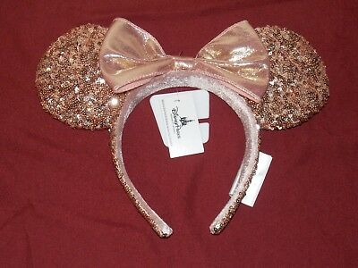 Authentic Disney Parks Rose Gold Minnie Mouse Ears Headband New With Tags Free S