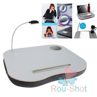 Portable Cushioned Table Laptop Lap Desk with LED Light Lamp Cup Holder 【AU】