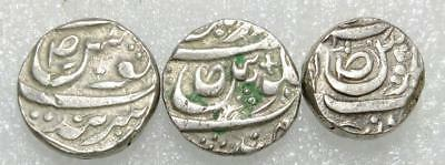 Sikh Empire CIS Sutlej Set of 3 diff. States silver rupee. JIND,Patiala,Malerkot