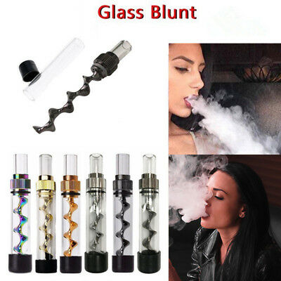 V12 Mini  Metal Twisty Glass Tube Pipe Blunt Kit For Dry Herbs Spice