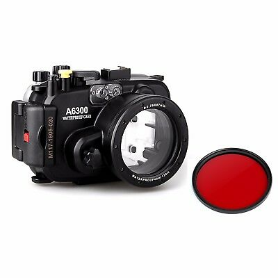 Meikon 40m Underwater Camera Diving Housing Case for Sony A6300 w/Red Filter