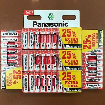 50 x AA Genuine PANASONIC Zinc Carbon Batteries - New R6 1.5V Expiry 2021
