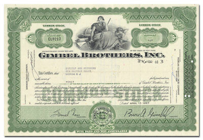 Gimbel Brothers, Inc. Stock Certificate (Famous Department Store)
