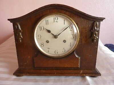 Edwardian Oak Cased Striking Mantle Clock - GWO