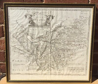 1722 - Rare Original Large Antique Map of CHESHIRE CHESTER by ROB MORDEN