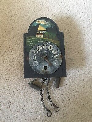 Antique Mini Wag On The Wall Clock F K E Walch Germany For Restoration