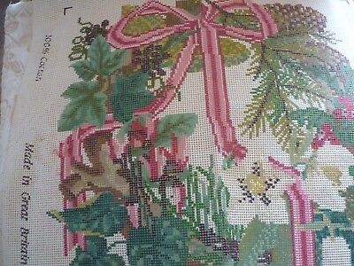 Elizabeth Bradley tapestry  FLOWER in a circle with yarns . chart ,