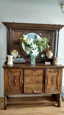 Antique / Vintage Oak Jacobean Style Barley Twist Welsh Dresser 1920-1930's