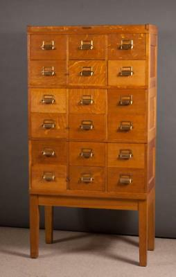 STACKING OAK FILE CABINET ON STAND, Yawman & Erbe Lot 72