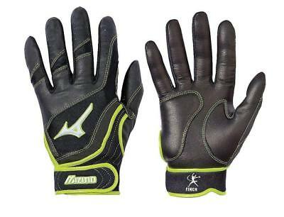 Mizuno Womens Softball Batting Gloves S Black Optic Yellow 330229 FAST! E45